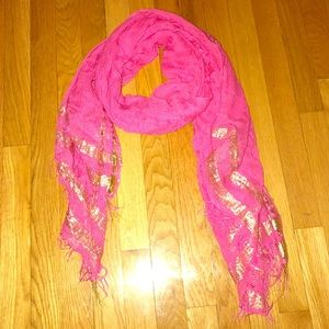 Bright Pink & Gold Scarf - soft and light weight